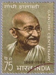 INDIA - CIRCA 1969 :stamp printed in India show Mahatma Gandhi, series, circa 1969